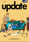 Update cover: exhausted parents taking care of child, home, and work.