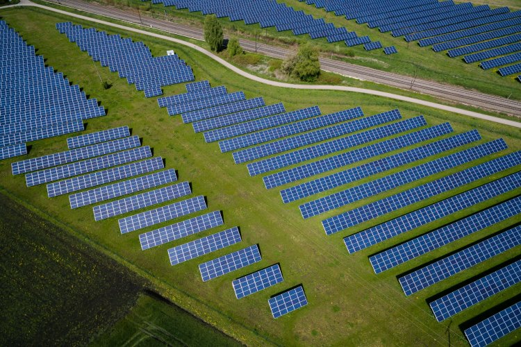 aerial view of solar panels field in Offingen, Germany