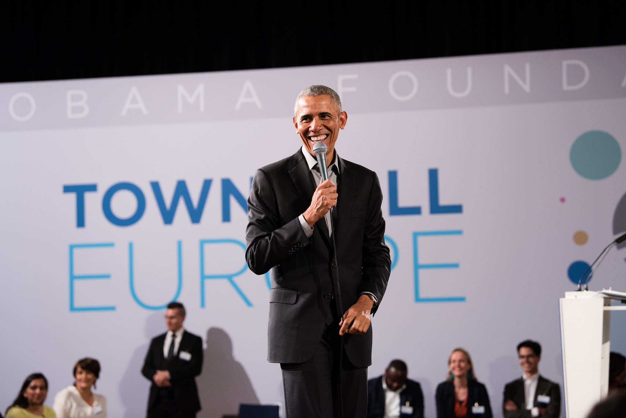 President Barack Obama speaking at ESMT Berlin for the Obama Foundation Town Hall Europe.